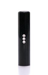 銀行印 スリーストーンクリスタル 黒水牛 13.5mm