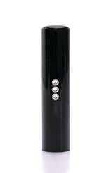 実印 スリーストーンクリスタル 黒水牛 13.5mm