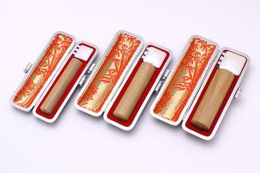 実印・銀行印・認め印セット 白檀 実印13.5mm【銀枠】