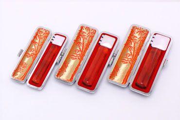 実印・銀行印・認め印セット 琥珀樹脂 実印13.5mm【銀枠】