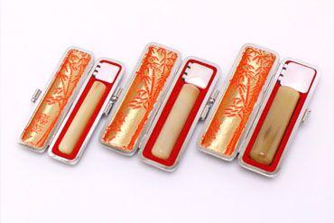 実印・銀行印・認め印セット 牛角 淡色 実印13.5mm【銀枠】