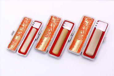 実印・銀行印・認め印セット 牛角 純白 実印13.5mm【銀枠】